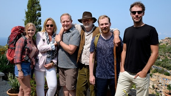 von links nach rechts: Jennifer Ulrich (als Stefanie Wöhler), Ariane Krampe (Produzentin), Harald Krassnitzer (als Klaus Wöhler), Michael Gwisdek (als Helmut Wöhler), Tino Mewes (als Mark Wöhler), David Gruschka (Regie)