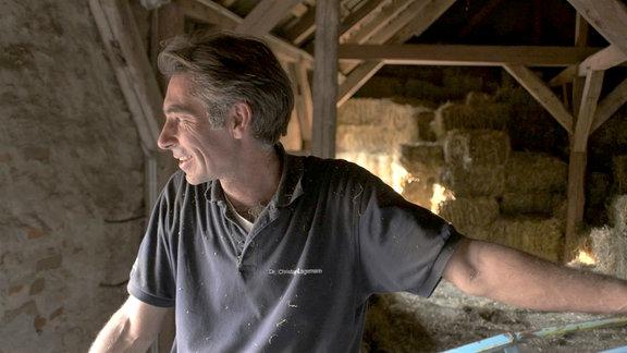 Im Dachboden der Tierärzte Lagemann wird der Heuvorrat gelagert.