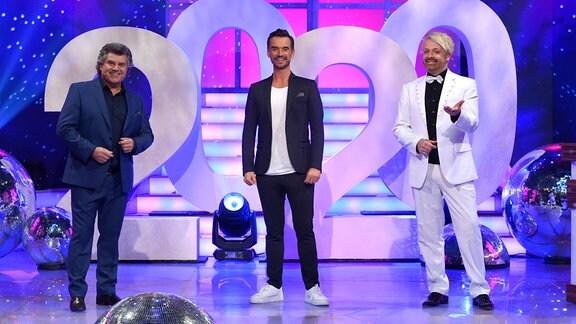 V.l.: Andy Borg, Florian Silbereisen, Ross Antony