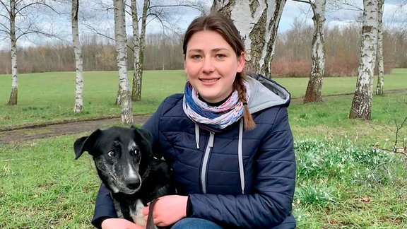 Friederike Müller mit Hund Freya