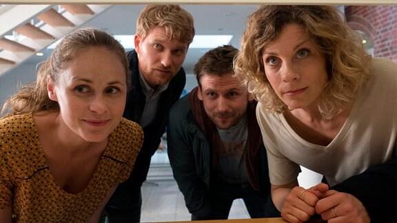 Wir nennen uns Bonusfamilie - von links: Lisa (Inez Bjørg David), Patrick (Lucas Prisor), Martin (Steve Windolf) und Katja (Anna Schäfer).