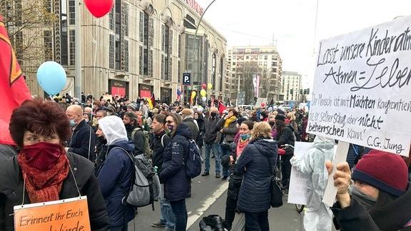 Querdenker demonstrieren gegen die Coronamaßnahmen der Regierung
