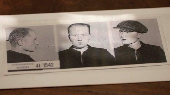 """Alfred Ledermann wurde als """"schwuler Asozialer"""" am 12.7.1942 im KZ Sachsenhausen im Rahmen der """"Aktion Klinker"""" im Alter von 20 Jahren ermordet. (""""Täter""""-Fotos nach der Verhaftung)"""