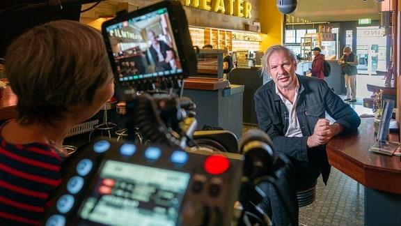 Foto von den Dreharbeiten mit Leander Haußmann