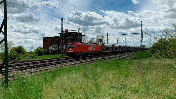 Ein Güterzug zwischen Halle und Magdeburg.