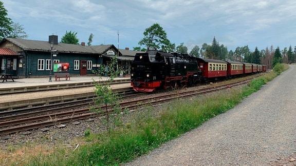 aEine alte Dampflok im Bahnhof von Schierke