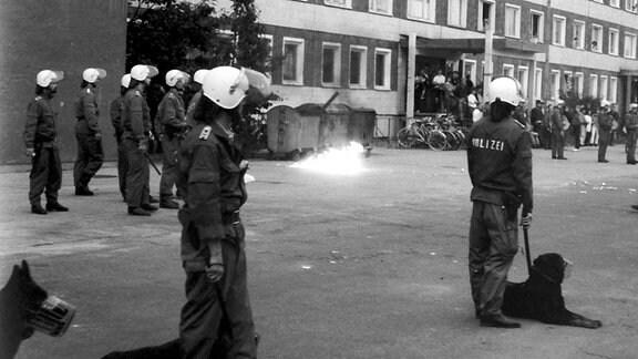 Am zweiten Tag der Ausschreitungen fliegen zunehmend auch Brandsätze gegen das Vertragsarbeiterwohnheim. Die Polizei ist ohne spezielle Schutzausrüstung und kann die Angreifer nur mit Mühe und mit Hilfe der Diensthunde abwehren.