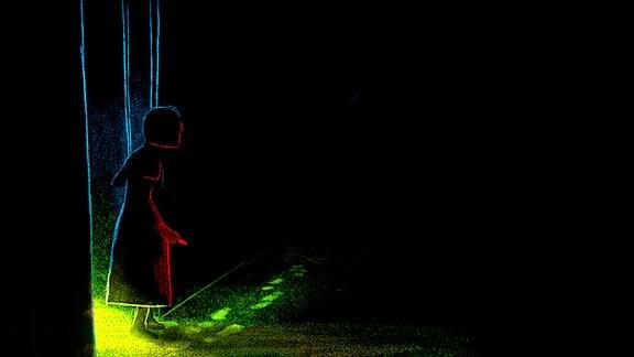 Sophie auf dem Weg durch die Dunkelheit.