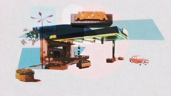 """Der Eingang zum Hotel aus dem animierten Dokumentarfilm """"Hotel Astoria"""""""