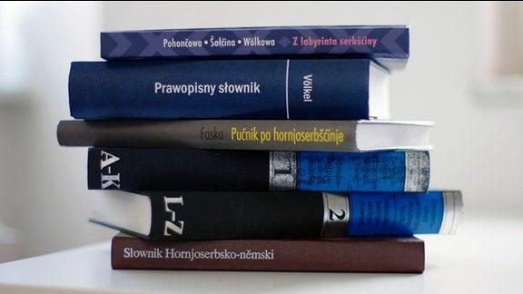 Ein Stapel sorbischer Wörterbücher