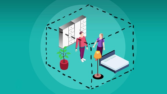 Darstellung eines dreidimensionalen Raumes, in dem eine Frau und ein Mann Einrichtungsgegenstände eines Schlafzimmers platzieren.