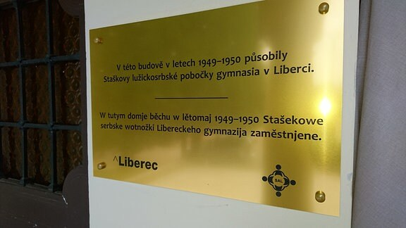 Schild in zweisprachiger Aufschrift - sorbisch und tschechisch. Sorbisches Kulturjahr in Tschechien eröffnet
