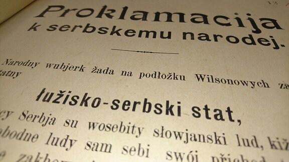 Schriftstück Sorbischer Staat