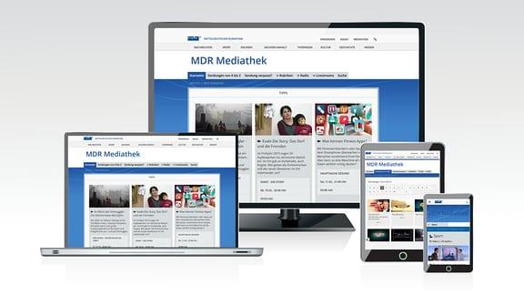 Laptopbildschirm und mobile Geräte zeigen die MDR-Mediathek