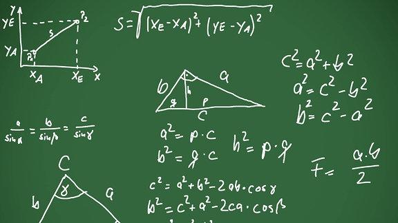 Eine Tafel mit Formeln