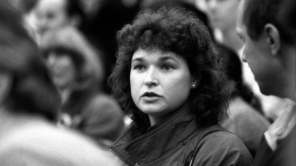 Anett Pötzsch (DDR) unter den Zuschauern, WM 1988