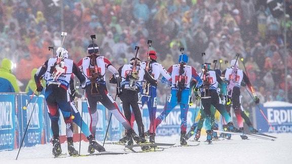 Biathlon in Oberhof, Staffel Männer Arena am Rennsteig