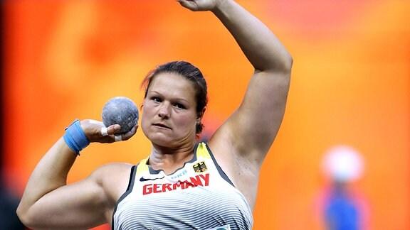 Christina Schwanitz beim Finale im Kugelstossen der Frauen bei der Leichtathletik EM 2018 in Berlin