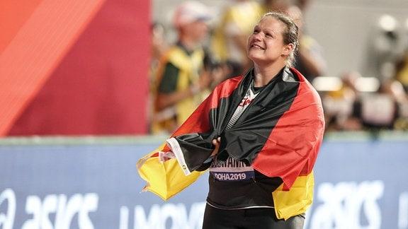 Christina Schwanitz, GER/LV 90 Erzgebirge, im Khalifa International Stadium in Doha.