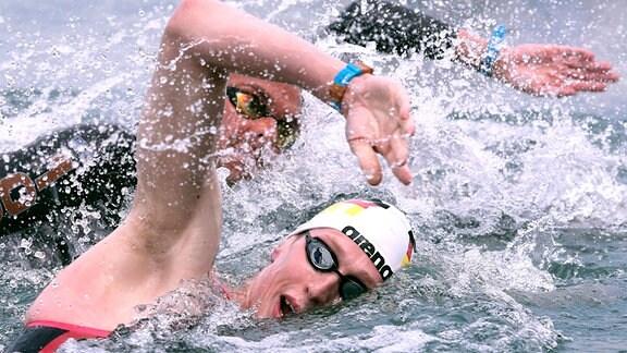 Florian Wellbrock beim 5km Freiwasserschwimmen in Budapest