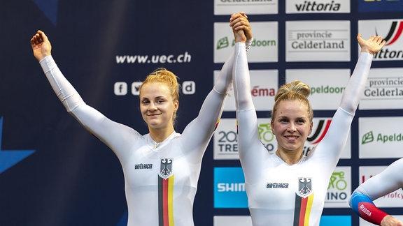 Lea Sophie Friedrich und Emma Hinze holen Silber bei der Bahnrad-EM in Apeldoorn