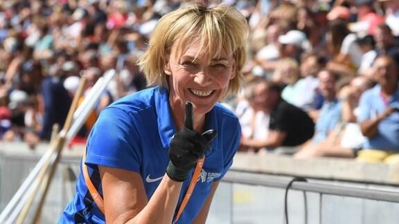 Heike Drechsler als Kampfrichterin bei der Leichtathletik EM Berlin 2018