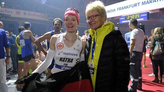 Katrin Dörre-Heinigmit ihrer Trainerin und Mutter Katrin Dörre-Heinig bei der Deutsche Meisterschaft 2017