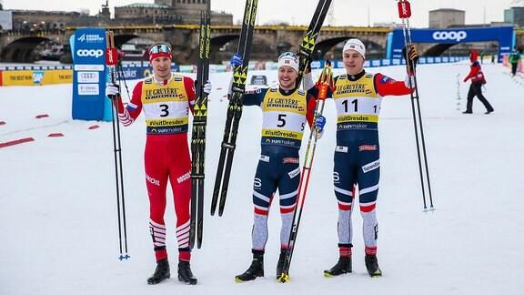Langlauf Weltcup Dresden - Podest Männer