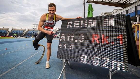 Markus Rehm GER gewinnt Gold mit neuem Weltrekord 8,62m beim Weitsprung der Männer in der Klasse T64 bei den World Para Athletics European Championships am 01.06.2021 im Zdzislaw Krzyszkowiak Stadion in Bydgoszcz