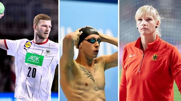 Die Collage zeigt Handballer Philipp Weber, Schwimmer Floriam Wellbrock und Diskuswerferin Nadine Müller