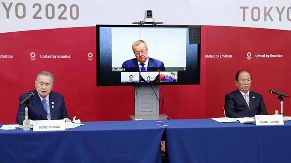 Videokonferenz mit John Coates und Yoshiro Mori