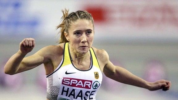 Rebekka Haase während eines Rennens.