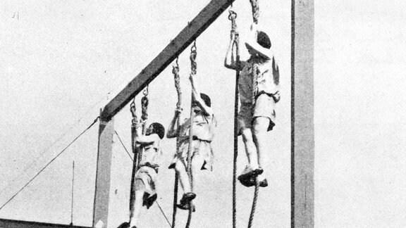 Französische Damenmannschaft Seilklettern bei den Olympischen Spielen in Amsterdam 1928