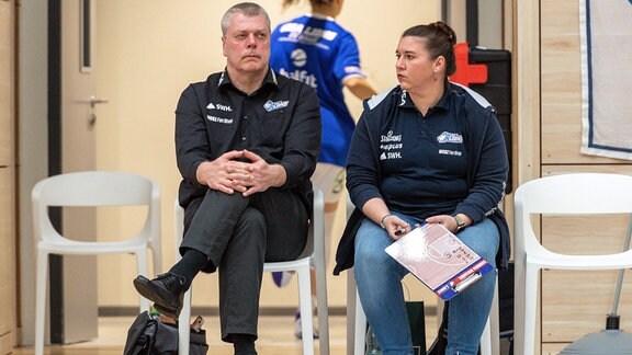 Peter Kortmann Head Coach, GISA Lions SV Halle und Sandra Rosanke Co-Trainerin.