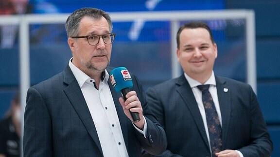Trainer Silvano Poropat und Geschäftsführer Martin Geissler