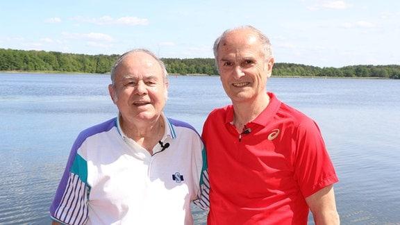 Wolfgang Behrendt (Olympiasieger Boxen) + Waldemar Cierpinski (Marathon-Olympiasieger)