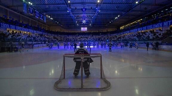 Einlauf der Eislöwen, vorn: Goalie Marco Eisenhut, hinten: die Choreografie der Fans zum 110. Vereinsjubiläum, Dresdner Eislöwen gegen EC Bad Nauheim.