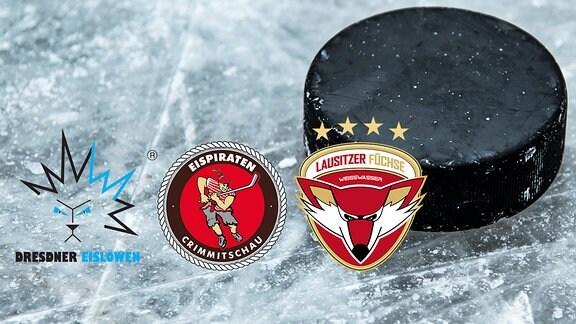 Lofgos der verine Dresdner Eislöwen, Lausitzer Füchse und Crimmitzschauer Eispiraten vor Eishockeyhintergrund