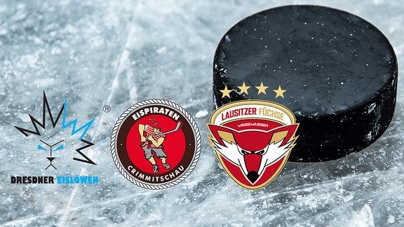 Logos der Vereine Dresdner Eislöwen, Lausitzer Füchse und Crimmitzschauer Eispiraten vor Eishockey-Hintergrund