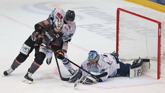 David Skokan (Loewen Frankfurt, 19) scheitert an Goalie, Torhueter Marco Eisenhut (Dresdner Eislöwen, 31) im Duell mit Tim Heyter (Dresdner Eislöwen, 42)