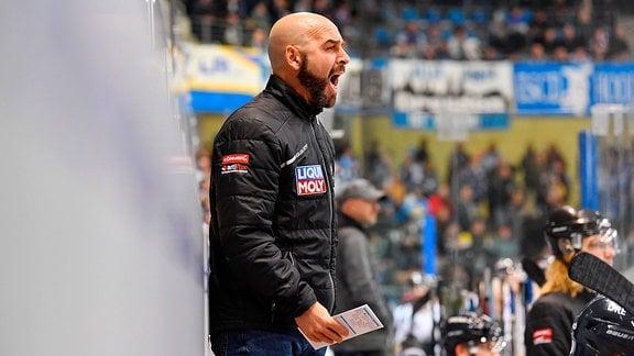 Trainer Rico Rossi Dresden, Dresdner Eislöwen gegen EHC Freiburg, Eishockey