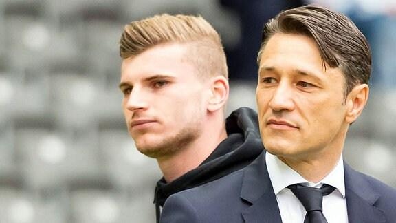 Timo Werner (RB Leipzig) und Niko Kovac (Trainer Bayern München)