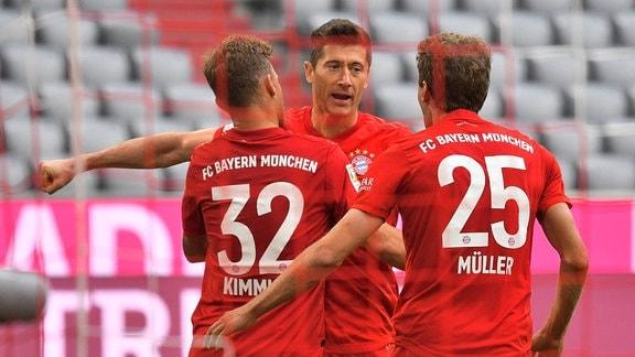 Joshua Kimmich, Robert Lewandowski und Thomas Müller