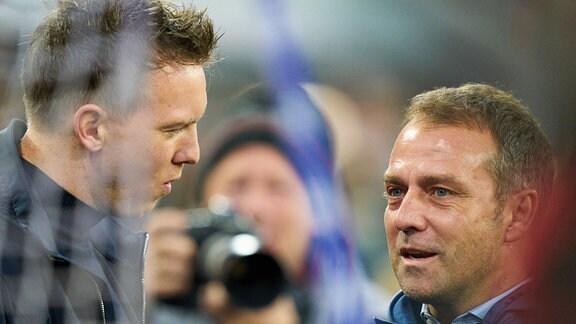 Julian Nagelsmann (RBL) und Hansi Flick (FCB)