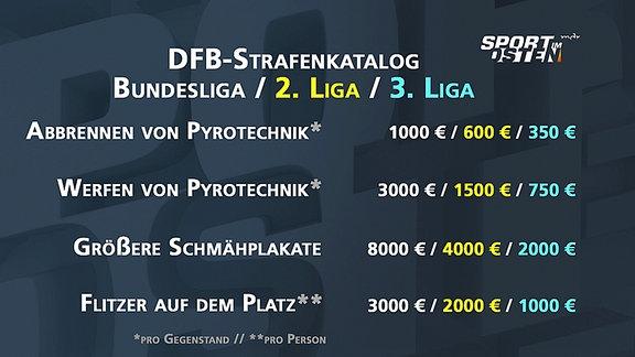 Die Grafik zeigt Strafen des Deutschen Fußball-Bundes bei Fanvergehen in der 1. bis 3. Liga