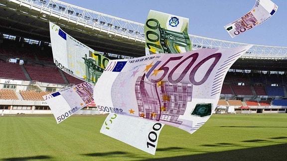 Symbolbild: Geld regiert den Fuߟball - Euroscheine flattern durch Stadion.