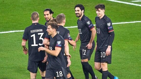Spieler der deutschen Nationalmannschaft jubeln