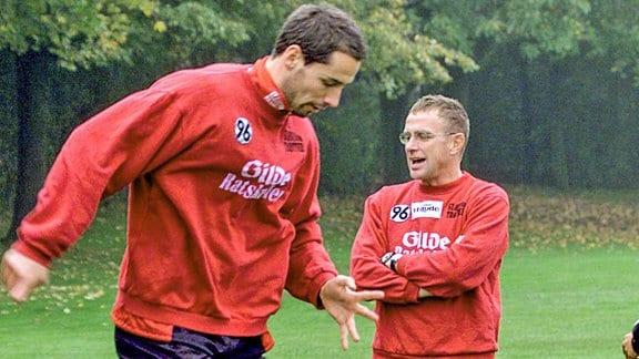 Ralf Rangnick und Marco Rose im, 2001