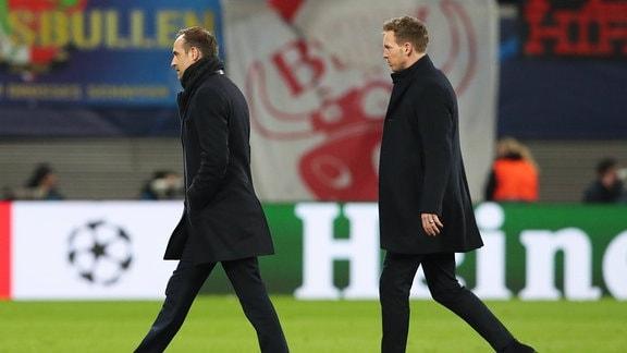 Trainer Julian Nagelsmann mit Vorstandsvorsitzender Oliver Mintzlaff RB Leipzig
