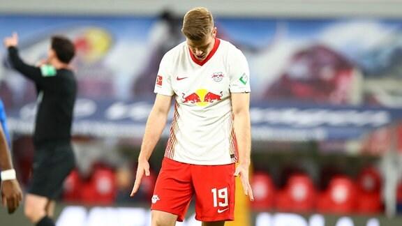 Alexander Sörloth (19, RB Leipzig) nach vergebener Torchance